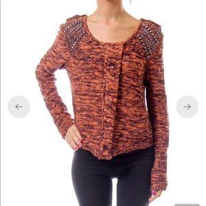 ASTR Orange Studded Sweater Jacket NWOT